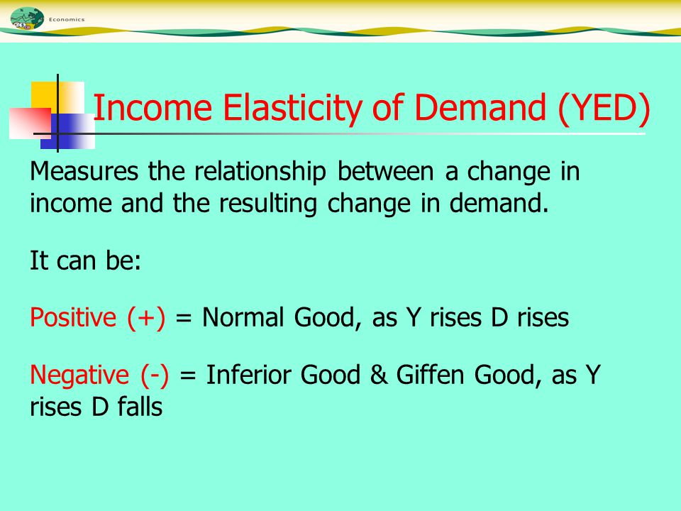 Income Elasticity of Demand (YED) Measures the relationship between a change in income and the resulting change in demand.