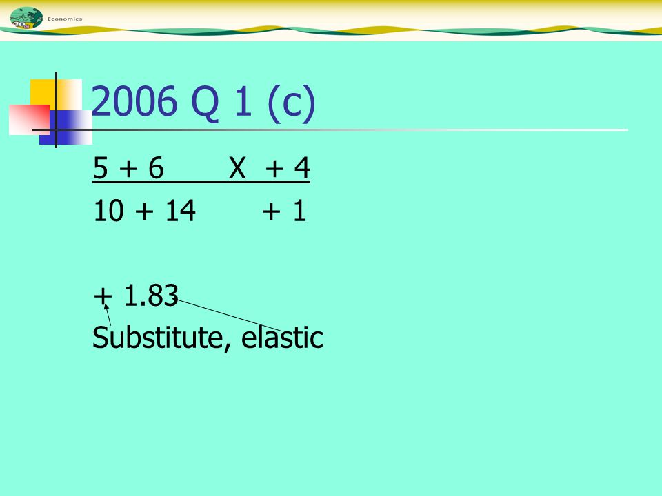 2006 Q 1 (c) 5 + 6 X + 4 10 + 14 + 1 + 1.83 Substitute, elastic