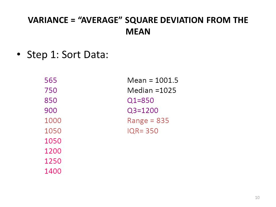 10 VARIANCE = AVERAGE SQUARE DEVIATION FROM THE MEAN Step 1: Sort Data: 565Mean = 1001.5 750Median =1025 850Q1=850 900Q3=1200 1000Range = 835 1050IQR= 350 1050 1200 1250 1400