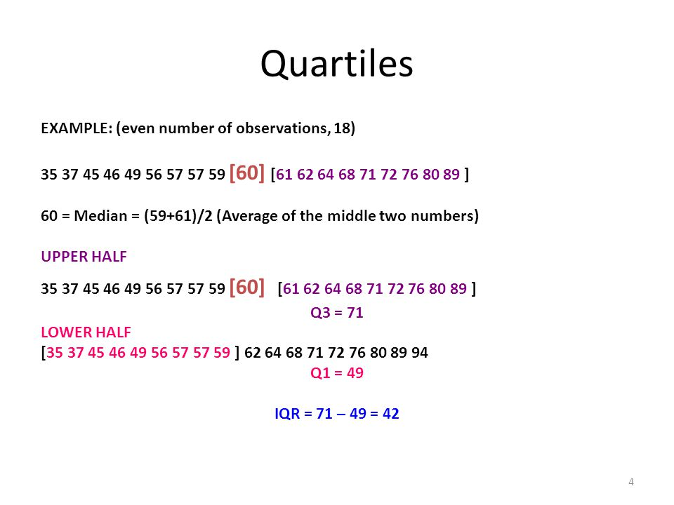 4 Quartiles EXAMPLE: (even number of observations, 18) 35 37 45 46 49 56 57 57 59 [60] [61 62 64 68 71 72 76 80 89 ] 60 = Median = (59+61)/2 (Average of the middle two numbers) UPPER HALF 35 37 45 46 49 56 57 57 59 [60] [61 62 64 68 71 72 76 80 89 ] Q3 = 71 LOWER HALF [35 37 45 46 49 56 57 57 59 ] 62 64 68 71 72 76 80 89 94 Q1 = 49 IQR = 71 – 49 = 42