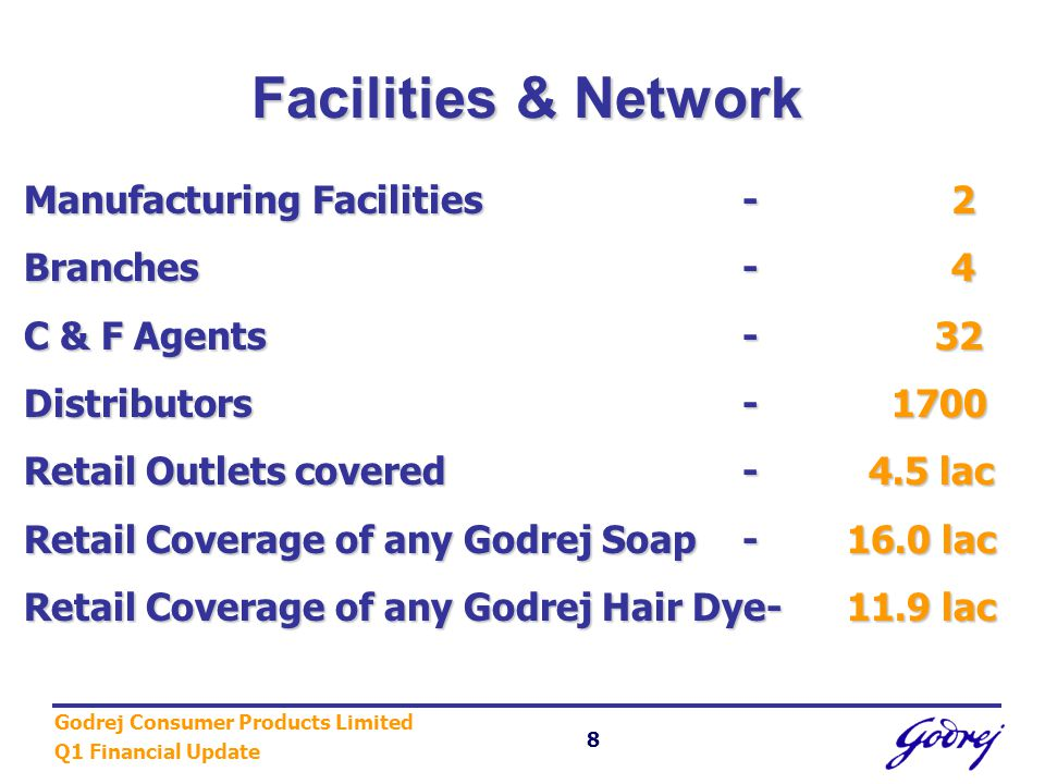 Godrej Consumer Products Limited Q1 Financial Update 8 Facilities & Network Manufacturing Facilities-2 Branches-4 C & F Agents- 32 Distributors- 1700 Retail Outlets covered- 4.5 lac Retail Coverage of any Godrej Soap -16.0 lac Retail Coverage of any Godrej Hair Dye-11.9 lac