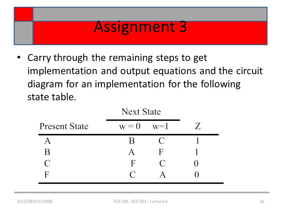 10/2/0810/2/2008ECE 561 -ECE 561 - Lecture 516 Assignment 3 Carry through the remaining steps to get implementation and output equations and the circuit diagram for an implementation for the following state table.