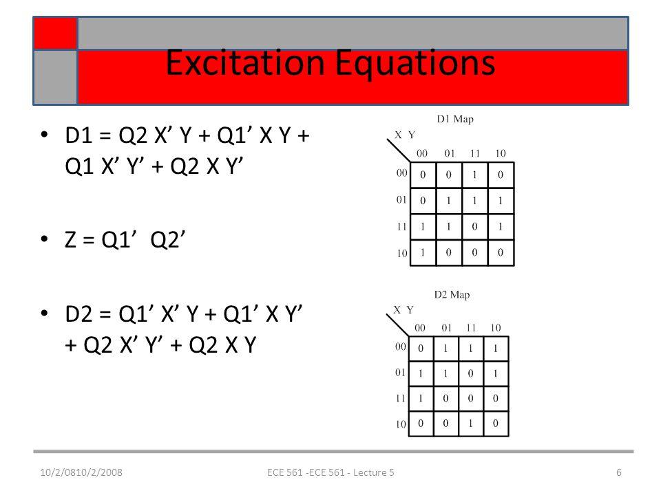 10/2/0810/2/2008ECE 561 -ECE 561 - Lecture 56 Excitation Equations D1 = Q2 X' Y + Q1' X Y + Q1 X' Y' + Q2 X Y' Z = Q1' Q2' D2 = Q1' X' Y + Q1' X Y' + Q2 X' Y' + Q2 X Y