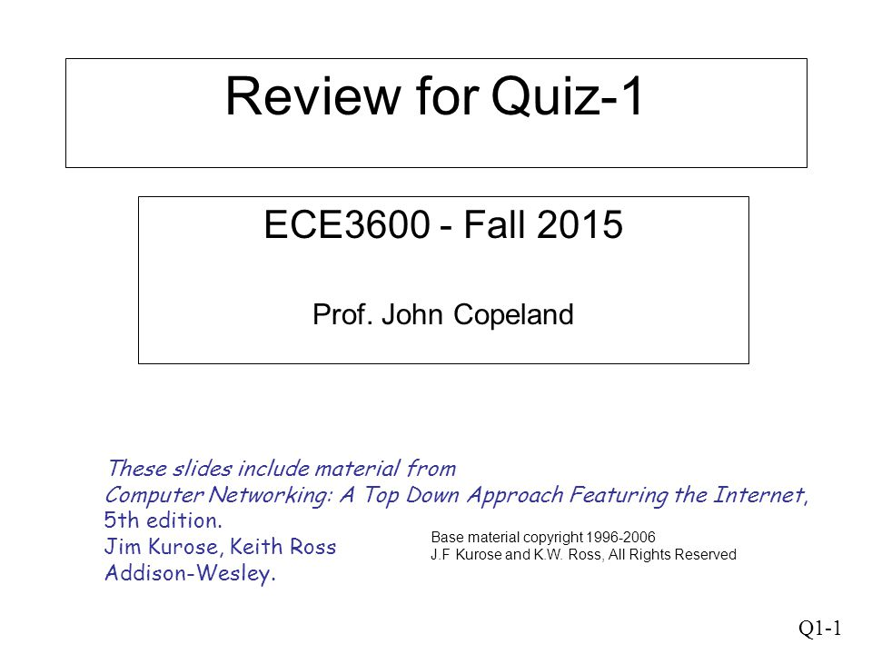 Q1-1 Review for Quiz-1 ECE3600 - Fall 2015 Prof. John Copeland These slides include material from Computer Networking: A Top Down Approach Featuring t