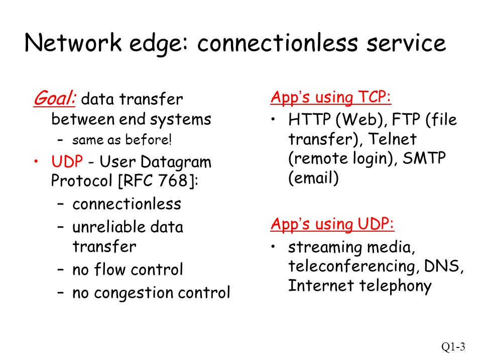 Q1-14 Internet protocol stack application: supporting network applications –FTP, SMTP, HTTP transport: process-process data transfer –TCP, UDP network: routing of datagrams from source to destination –IP, routing protocols link: data transfer between neighboring network elements –PPP, Ethernet physical: bits on the wire application transport network link physical LLC MAC Ethernet TCP/IP (voltage, photons, bits/s, media, …)