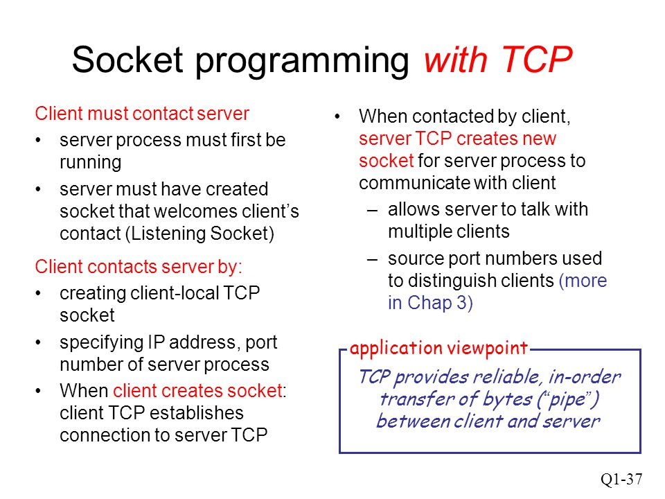 Q1-37 Socket programming with TCP Client must contact server server process must first be running server must have created socket that welcomes client