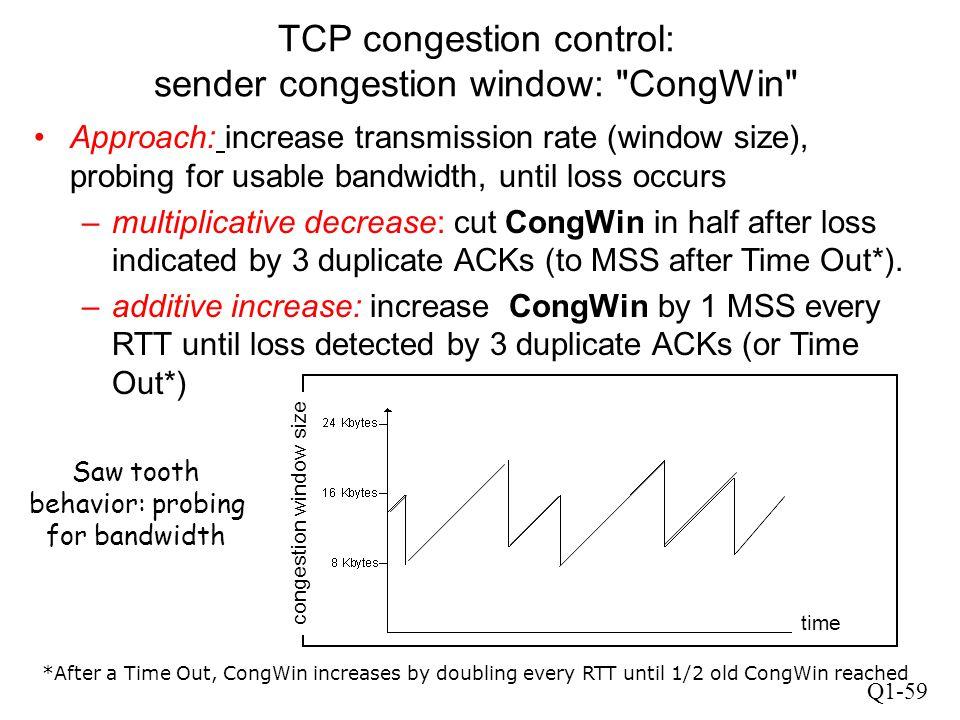 Q1-59 TCP congestion control: sender congestion window:
