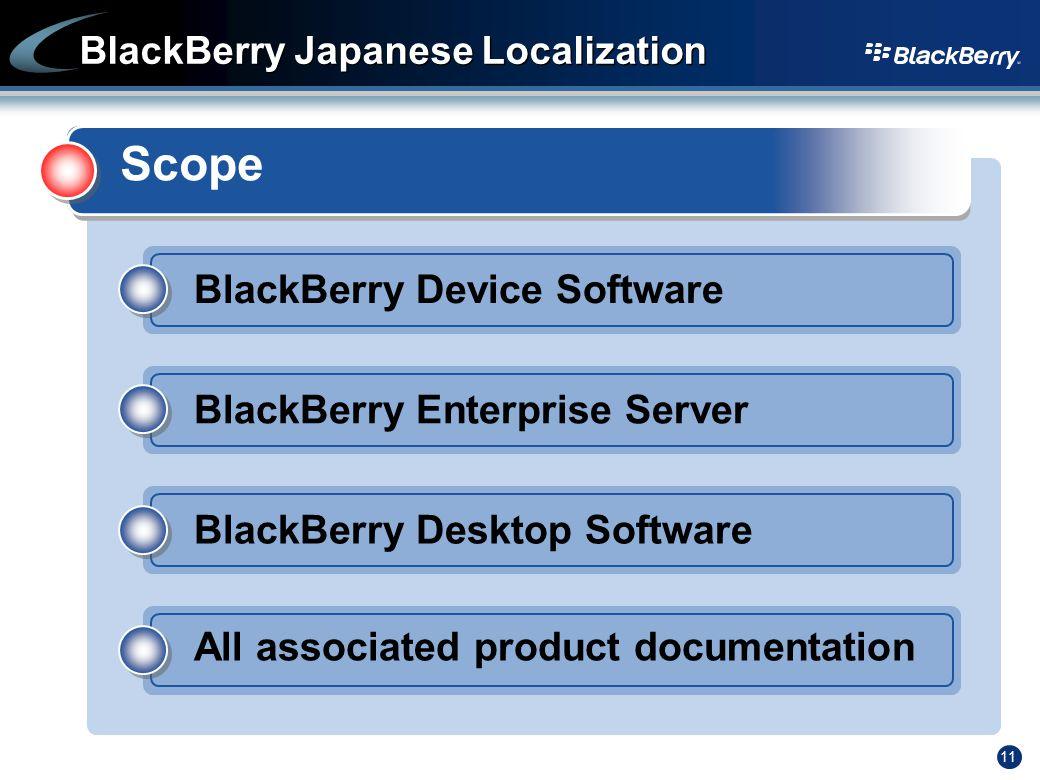 11 BlackBerry Japanese Localization Scope BlackBerry Device Software BlackBerry Enterprise Server BlackBerry Desktop Software All associated product d