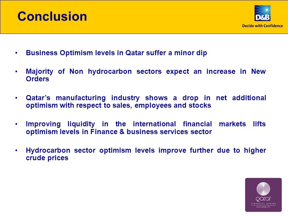 Other Key Highlights Availability of finance remains a key concern for many businesses in Qatar, reflecting global financial crisis aftermath However, 42% of respondents expect borrowing conditions to improve during the quarter, only 5% expect a deterioration Manufacturing sector facing pressure due to higher raw materials cost More than one third of companies in the non hydrocarbon sector plan to invest in business expansion in Q1 60% of companies in the hydrocarbon sector facing project delays