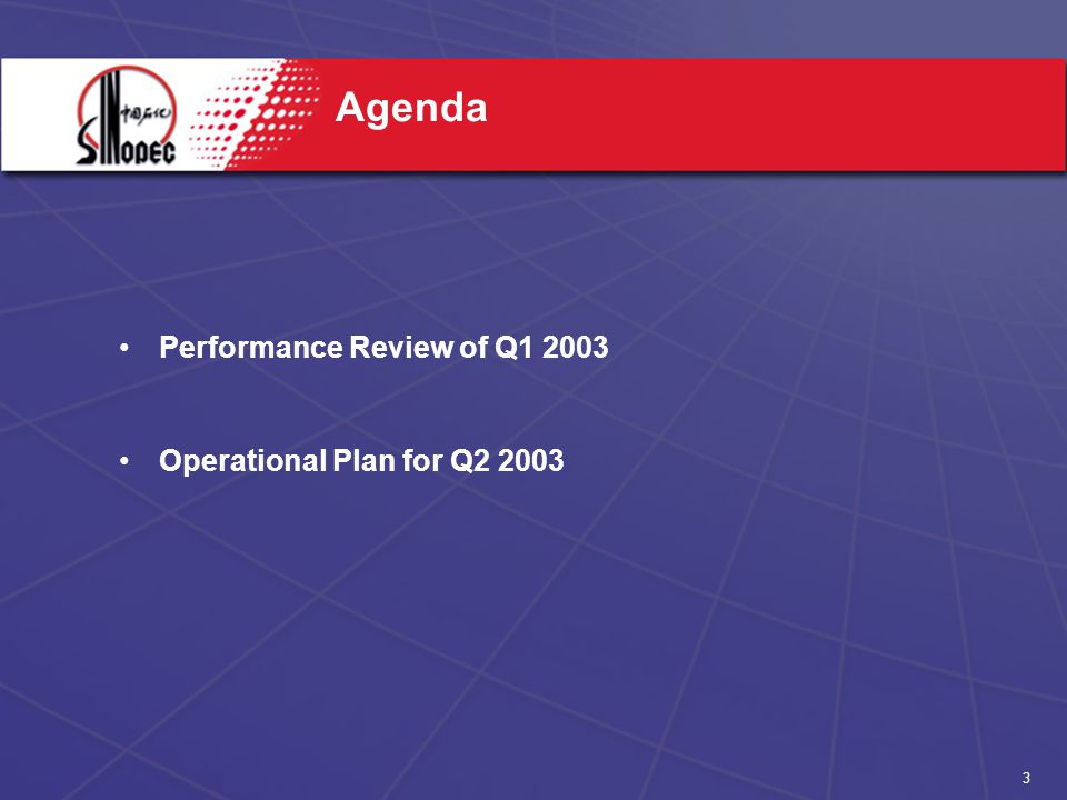 3 Agenda Performance Review of Q Operational Plan for Q2 2003