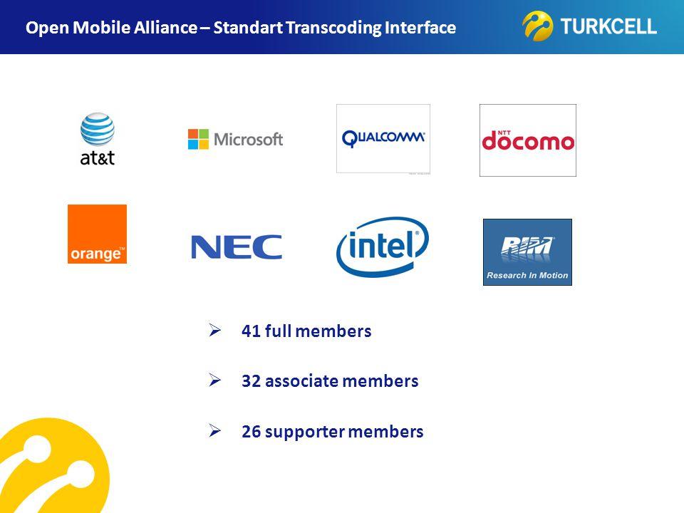 TURKCELL DAHİLİ Open Mobile Alliance – Standart Transcoding Interface  41 full members  32 associate members  26 supporter members