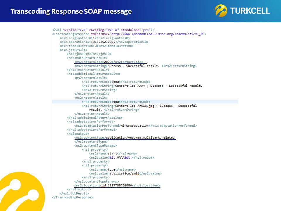 TURKCELL DAHİLİ Transcoding Response SOAP message
