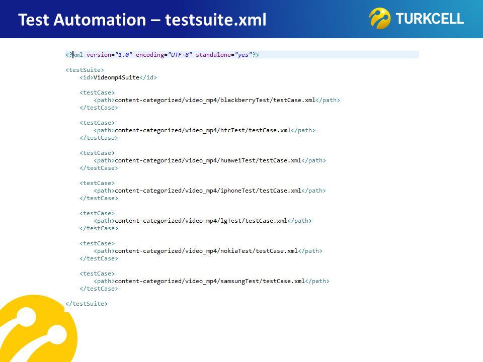 TURKCELL DAHİLİ Test Automation – testsuite.xml