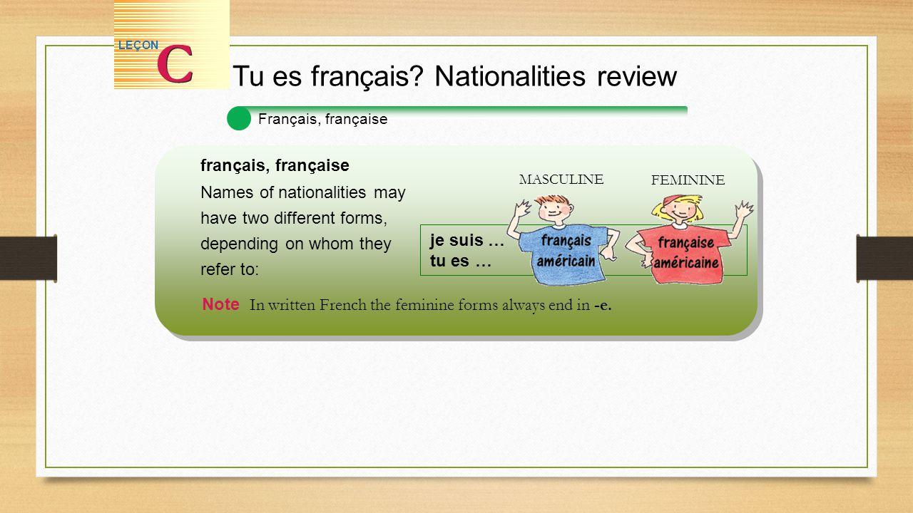 Français, française Tu es français? Nationalities review C C LEÇON français, française Names of nationalities may have two different forms, depending
