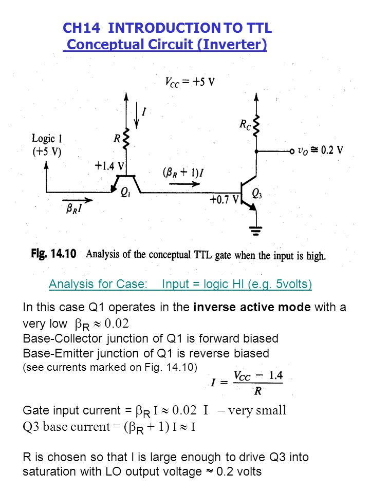 In this case Q1 operates in the inverse active mode with a very low  R  0.02 Base-Collector junction of Q1 is forward biased Base-Emitter junction o