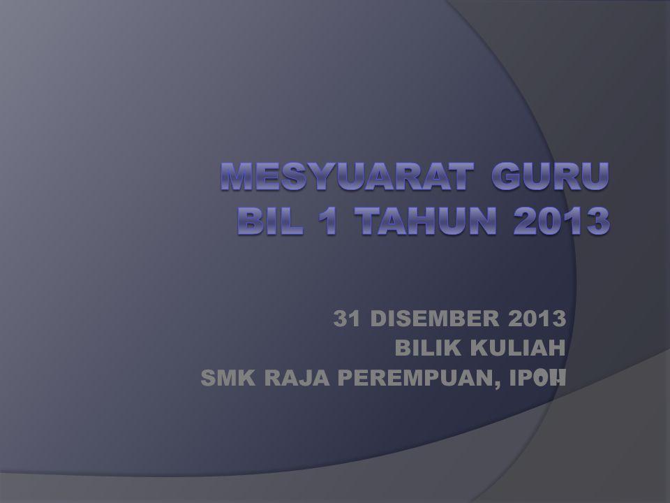 31 DISEMBER 2013 BILIK KULIAH SMK RAJA PEREMPUAN, IP OH
