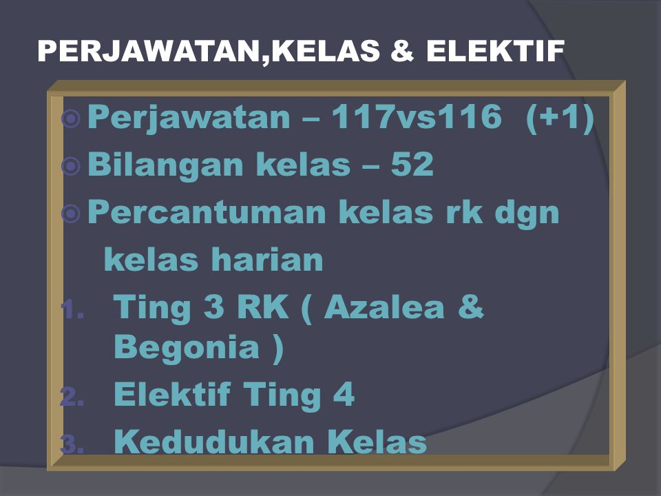 PERJAWATAN,KELAS & ELEKTIF  Perjawatan – 117vs116 (+1)  Bilangan kelas – 52  Percantuman kelas rk dgn kelas harian 1. Ting 3 RK ( Azalea & Begonia