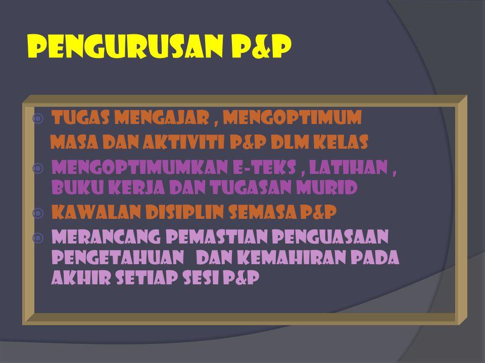 PEngurusan p&p  TUGAS MENGAJAR, mENgoptimum masa dan aktiviti P&P dlm kelas  Mengoptimumkan e-teks, latihan, buku kerja dan tugasan murid  Kawalan