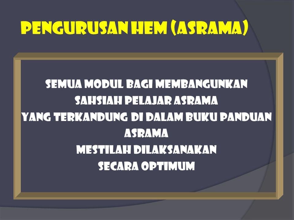 PEngurusan hem (ASRAMA) Semua modul bagi membangunkan Sahsiah pelajar asrama Yang terkandung di dalam buku panduan asrama Mestilah dilaksanakan Secara