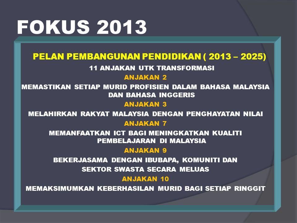 FOKUS 2013 STANDARD KUALITI PENDIDIKAN MALAYSIA (SKPM) STANDARD 1 HALA TUJU KEPIMPINAN STANDARD 2 PENGURUSAN ORGANISASI STANDARD 3 PENGURUSAN PROGRAM PENDIDIKAN STANDARD 4 PEMBELAJARAN & PENGAJARAN STANDARD 5 KEMENJADIAN MURID