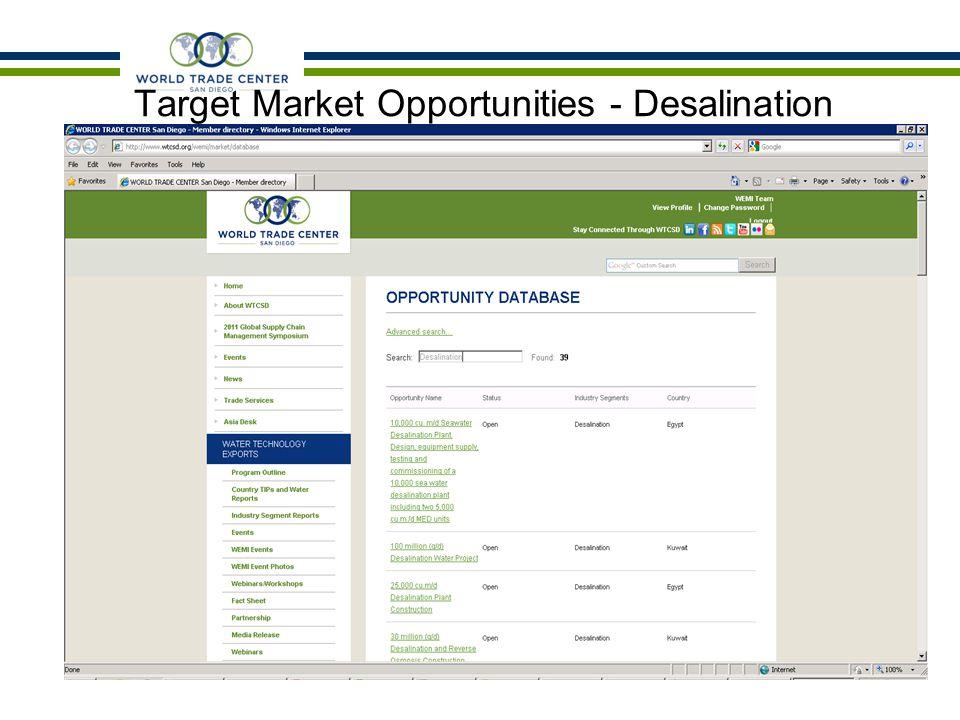 Target Market Opportunities - Desalination