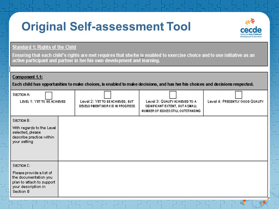 Original Self-assessment Tool