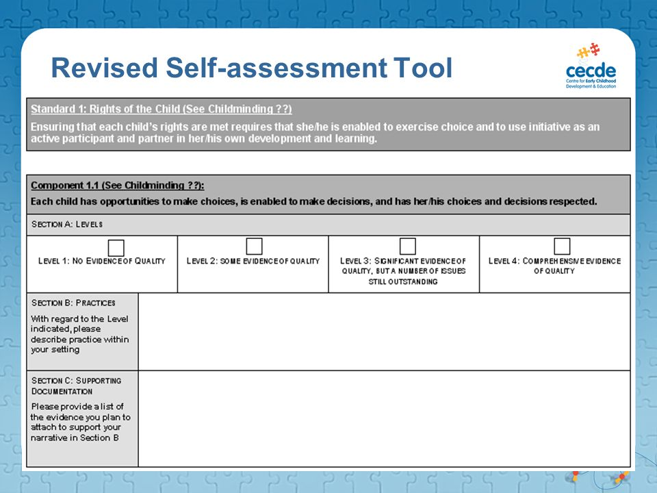 Revised Self-assessment Tool