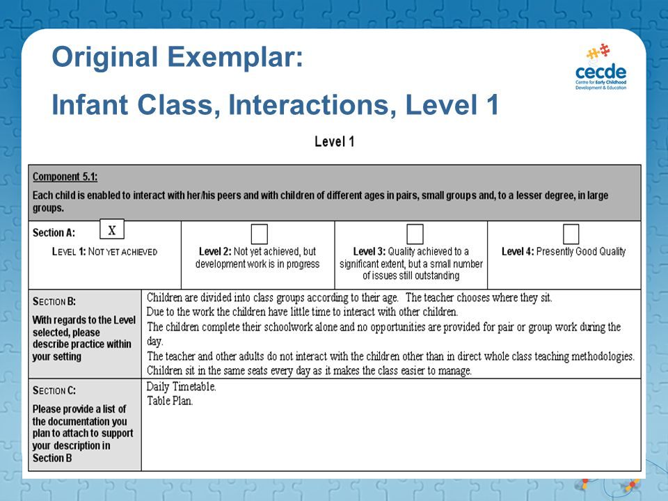 Original Exemplar: Infant Class, Interactions, Level 1