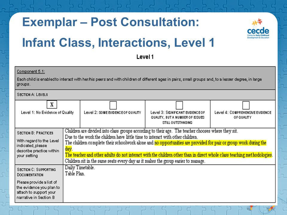 Exemplar – Post Consultation: Infant Class, Interactions, Level 1
