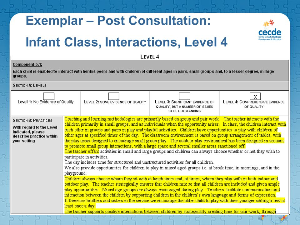 Exemplar – Post Consultation: Infant Class, Interactions, Level 4