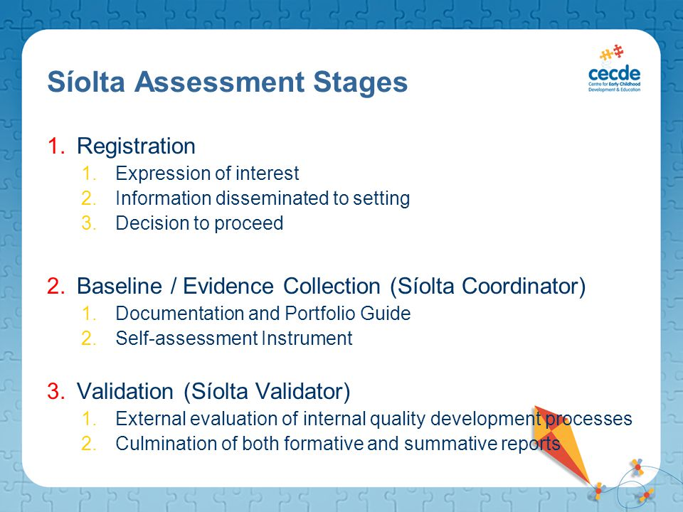 Síolta Assessment Stages 1.Registration 1.Expression of interest 2.Information disseminated to setting 3.Decision to proceed 2.Baseline / Evidence Col