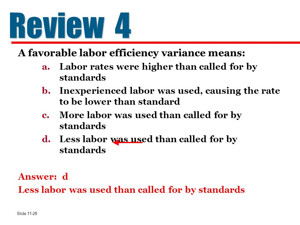 Slide 11-28 A favorable labor efficiency variance means: a.Labor rates were higher than called for by standards b.Inexperienced labor was used, causin