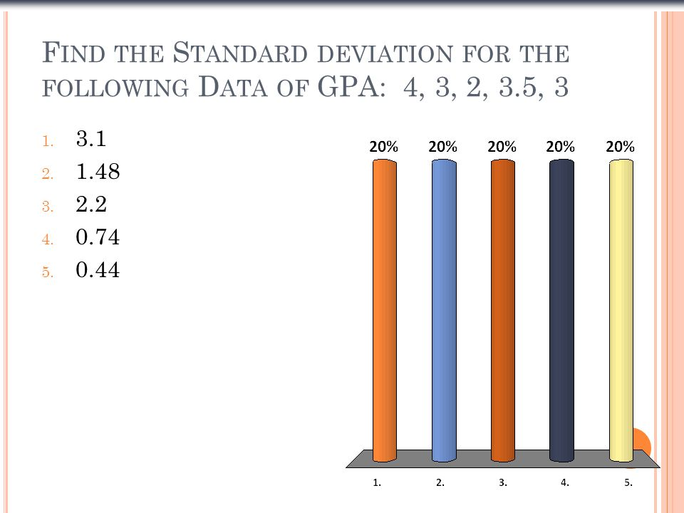 F IND THE S TANDARD DEVIATION FOR THE FOLLOWING D ATA OF GPA: 4, 3, 2, 3.5, 3 1.