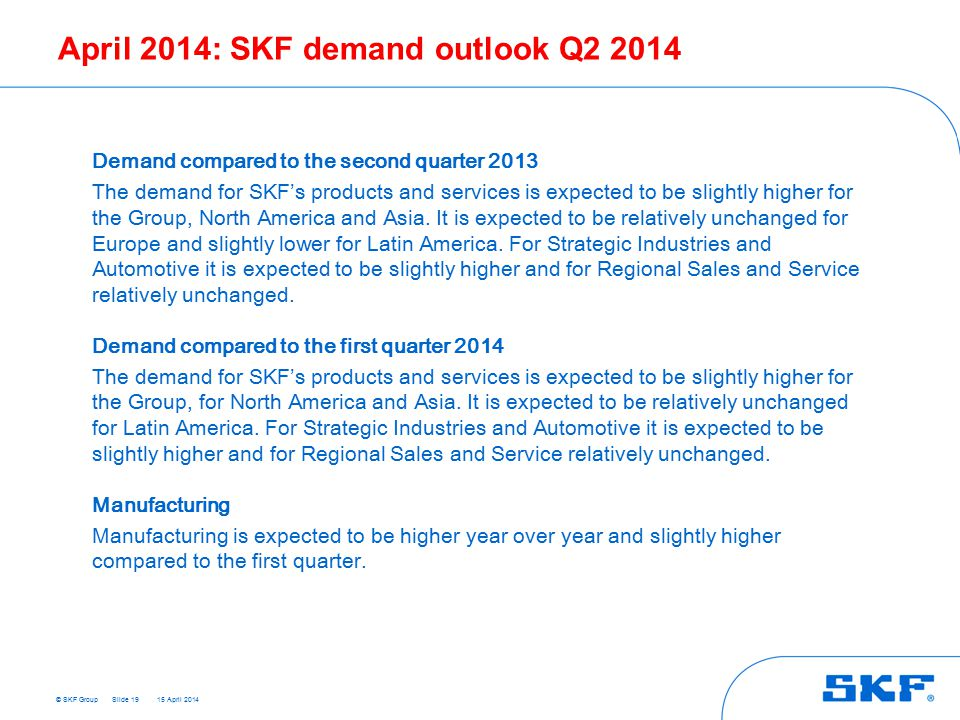 © SKF Group 15 April 2014 April 2014: SKF demand outlook Q2 2014 Slide 19 Demand compared to the second quarter 2013 The demand for SKF's products and services is expected to be slightly higher for the Group, North America and Asia.