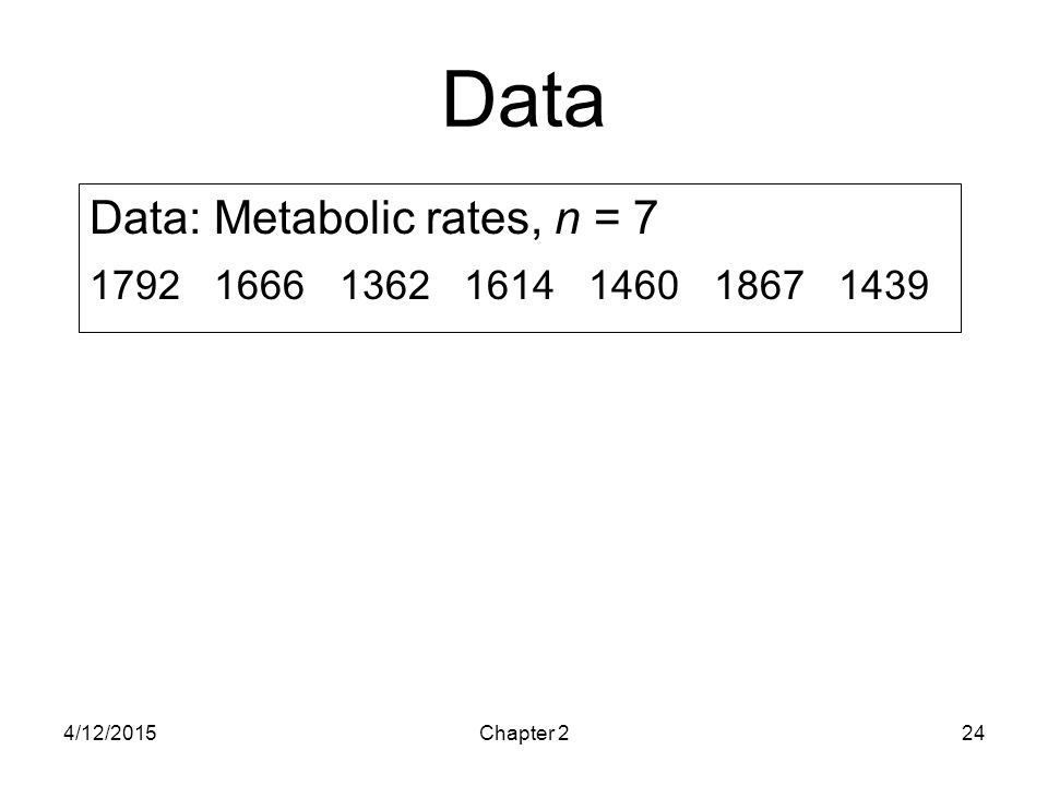 4/12/2015Chapter 224 Data Data: Metabolic rates, n = 7 1792 1666 1362 1614 1460 1867 1439