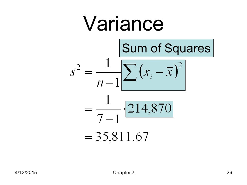 4/12/2015Chapter 226 Variance Sum of Squares