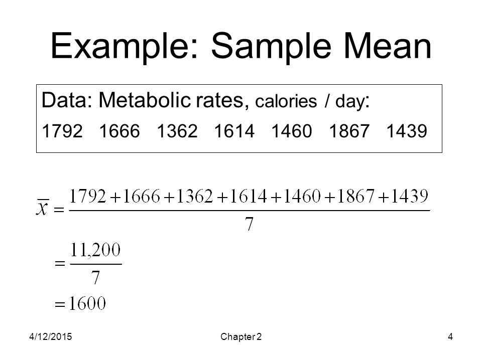 4/12/2015Chapter 24 Example: Sample Mean Data: Metabolic rates, calories / day : 1792 1666 1362 1614 1460 1867 1439