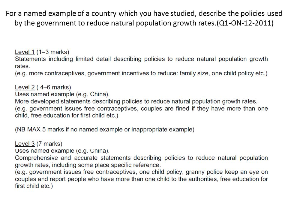 For a named example of a country which you have studied, describe the policies used by the government to reduce natural population growth rates.(Q1-ON