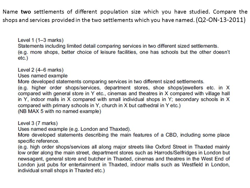 Name two settlements of different population size which you have studied. Compare the shops and services provided in the two settlements which you hav