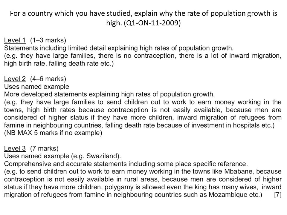For a country which you have studied, explain why the rate of population growth is high. (Q1-ON-11-2009)