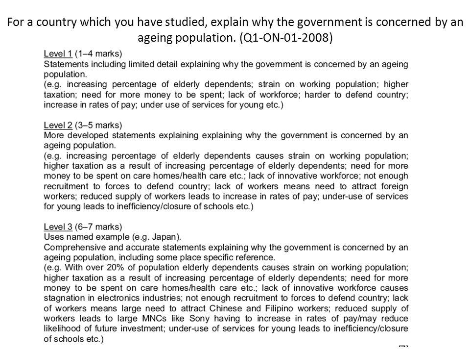 For a country which you have studied, explain why the government is concerned by an ageing population. (Q1-ON-01-2008)