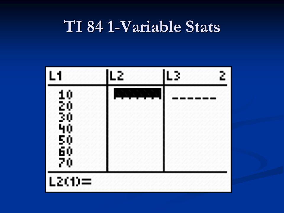 TI 84 1-Variable Stats