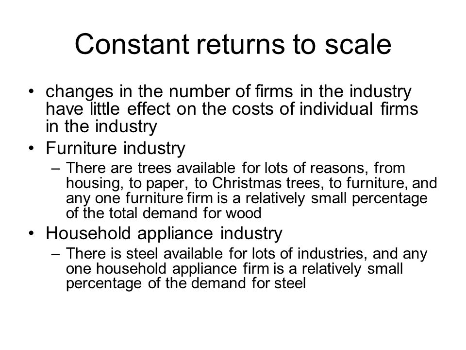 Constant returns to scale changes in the number of firms in the industry have little effect on the costs of individual firms in the industry Furniture