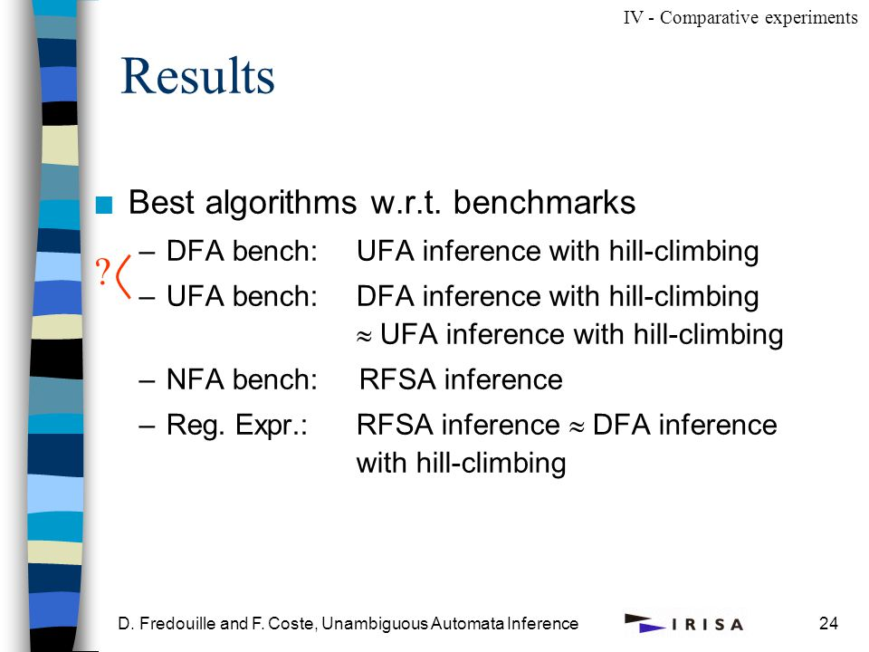 D. Fredouille and F. Coste, Unambiguous Automata Inference24 Results n Best algorithms w.r.t.