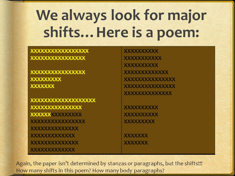 We always look for major shifts…Here is a poem: XXXXXXXXXXXXXXXXX XXXXXXXXXXXXXXXX XXXXXXXXX XXXXXXX XXXXXXXXXXXXXXXXXXX XXXXXXXXXXXXXXX XXXXXXXXXXXXXXXX XXXXXXXXXXXXXX XXXXXXXXXXXXX XXXXXXXXXXXXXX XXXXXXXXXXXXX XXXXXXXXXX XXXXXXXXXXX XXXXXXXXXX XXXXXXXXXXXXX XXXXXXXXXXXXXXX XXXXXXXXXXXXXX XXXXXXXXXX XXXXXXXXX XXXXXXX Again, the paper isn't determined by stanzas or paragraphs, but the shifts!!.