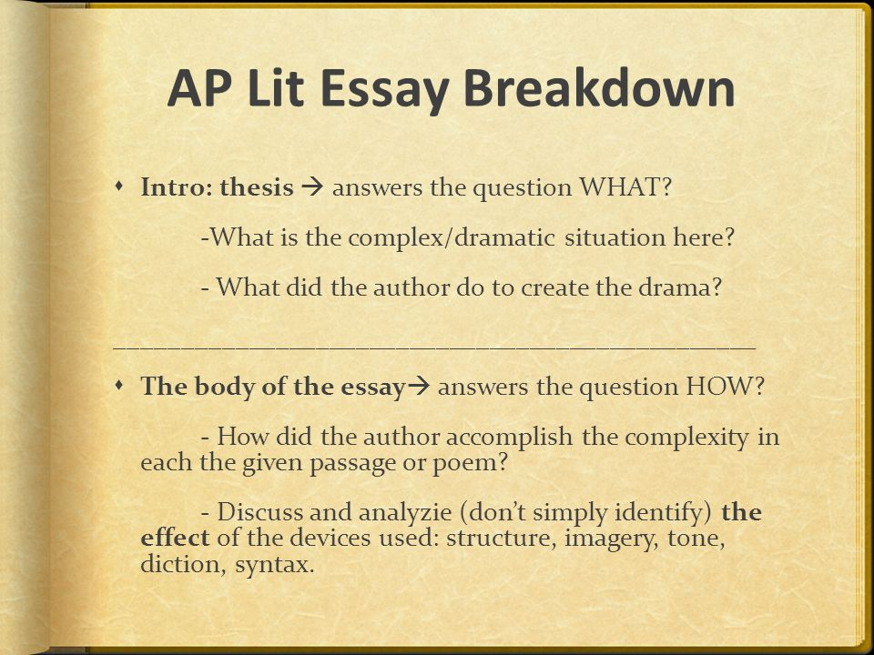 AP Lit Essay Breakdown  Intro: thesis  answers the question WHAT.