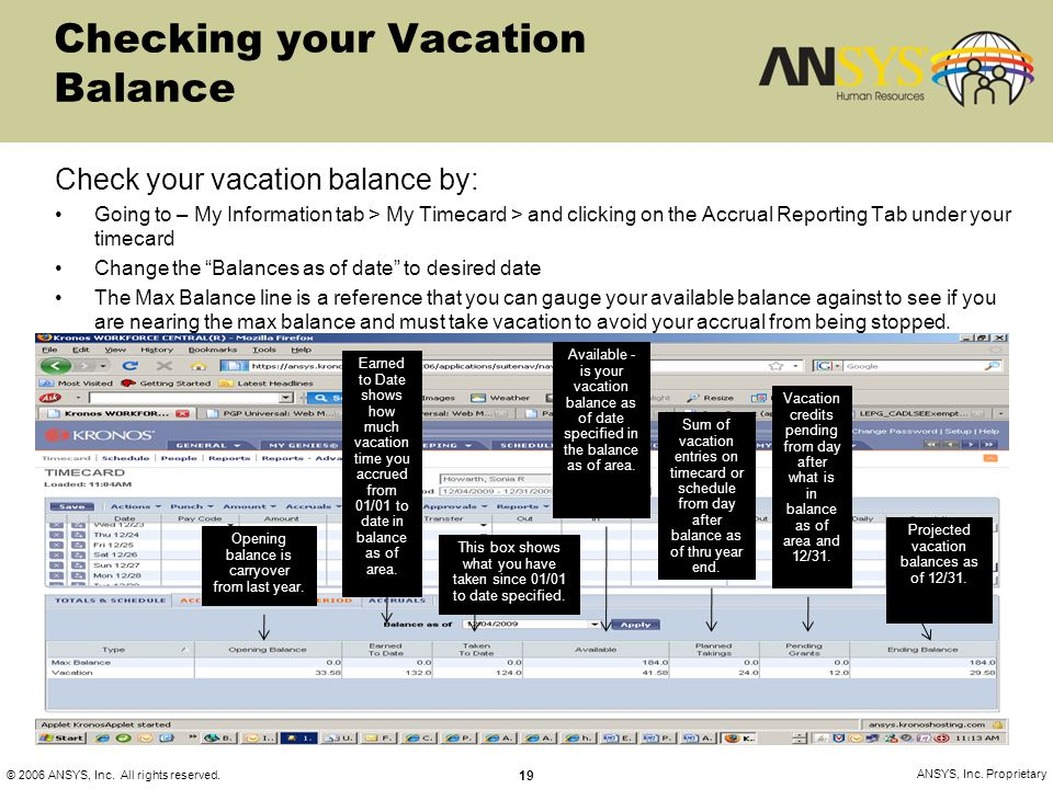 © 2006 ANSYS, Inc. All rights reserved. 19 ANSYS, Inc. Proprietary Checking your Vacation Balance Check your vacation balance by: Going to – My Inform