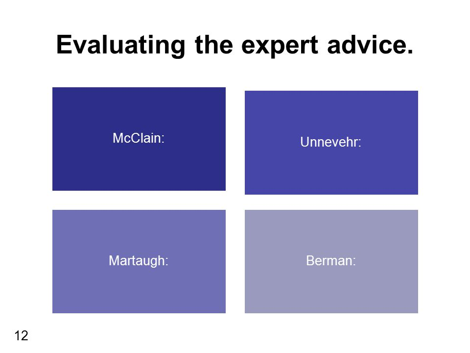 12 Evaluating the expert advice. McClain: Unnevehr: Martaugh:Berman:
