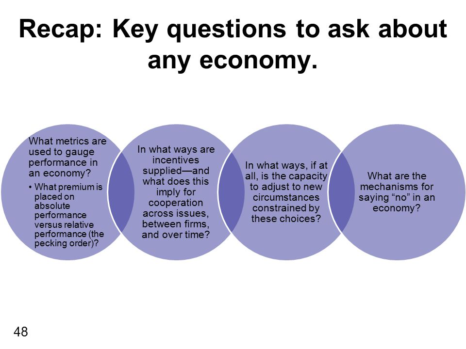 48 Recap: Key questions to ask about any economy. What metrics are used to gauge performance in an economy? What premium is placed on absolute perform