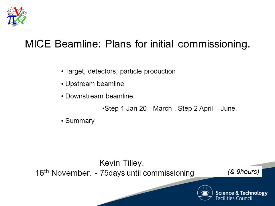 1 MICE Beamline: Plans for initial commissioning. Kevin Tilley, 16 th November.